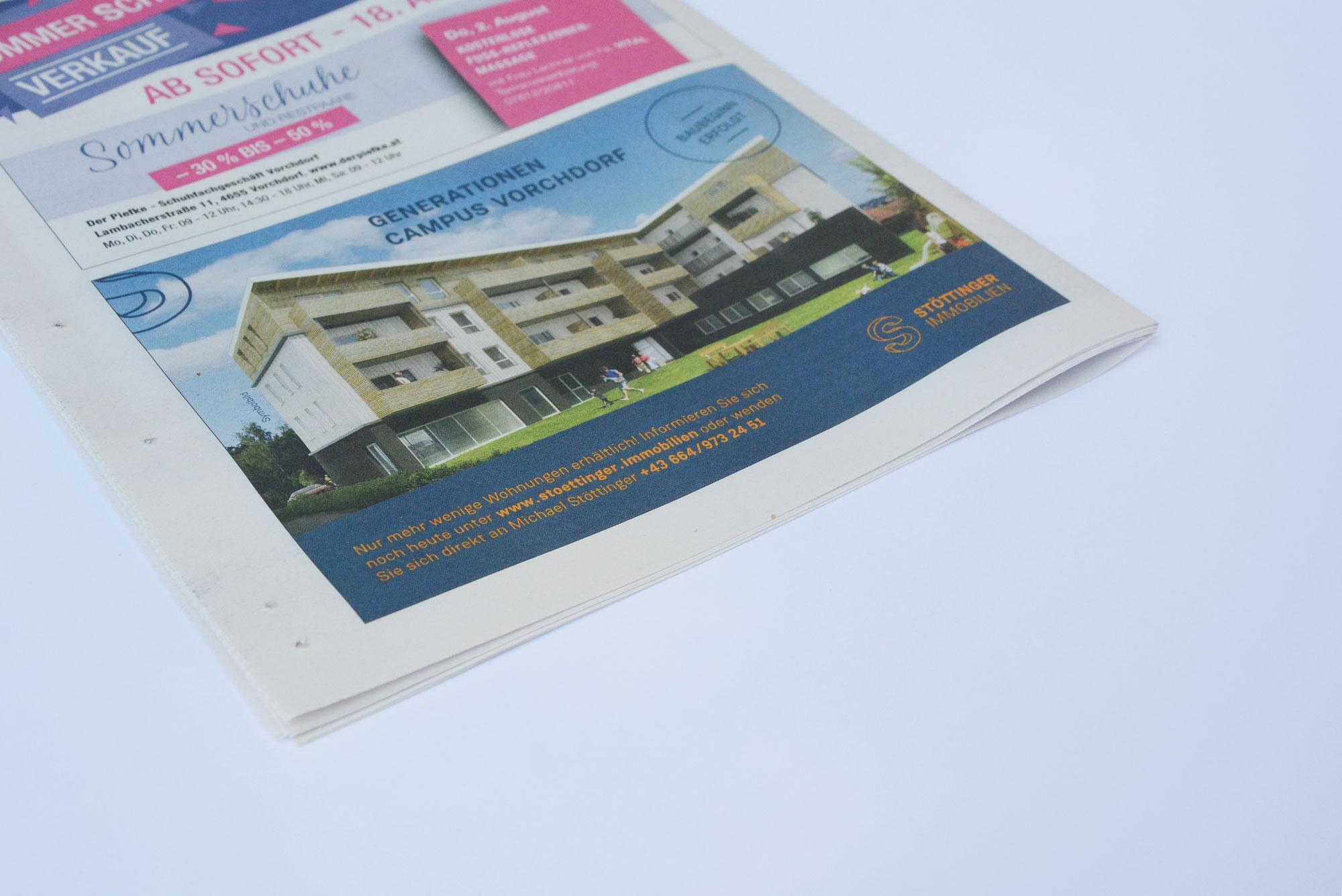 Inserat auf Zeitungsrückseite