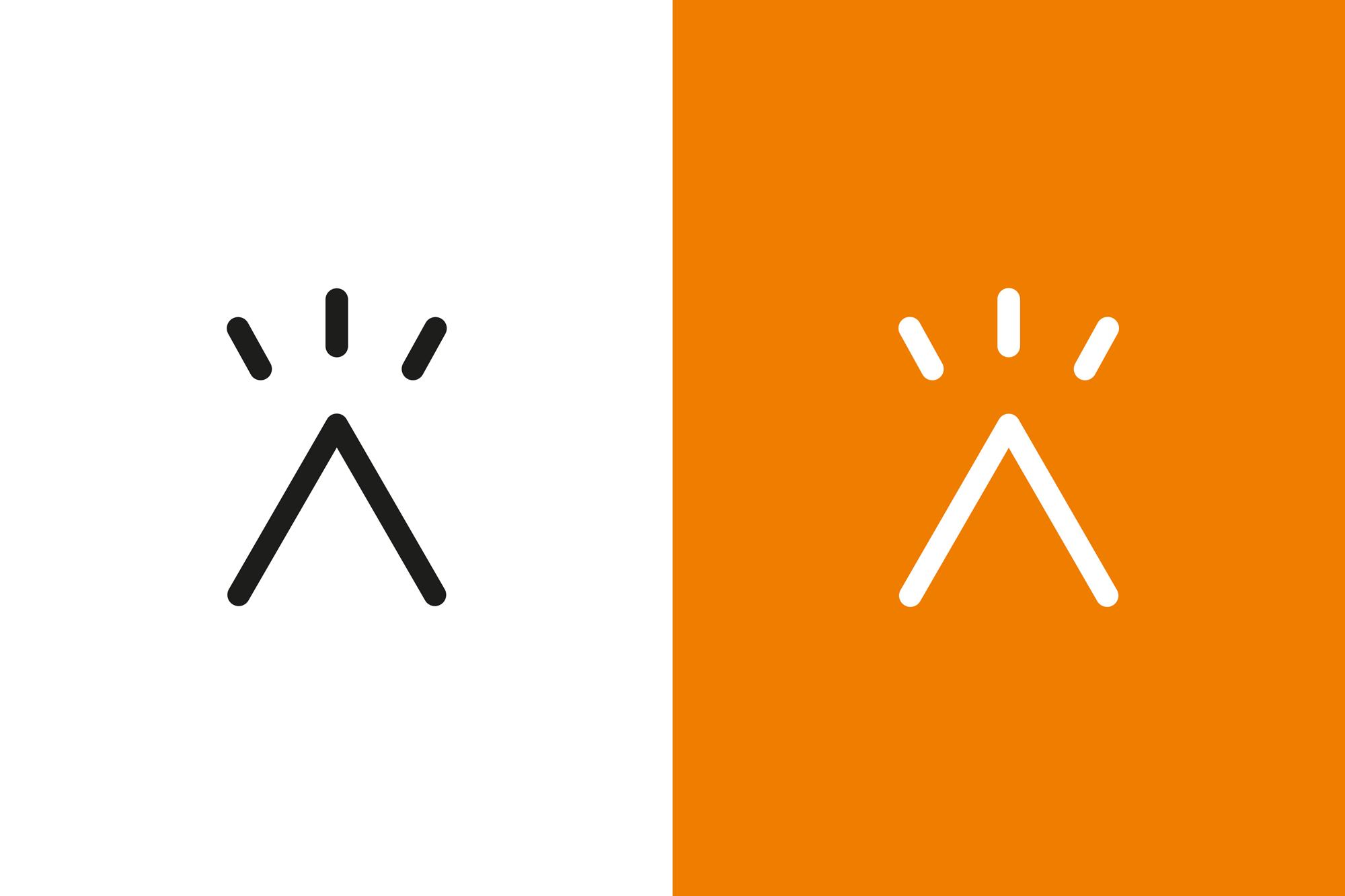Logomark auf orangem Hintergrund