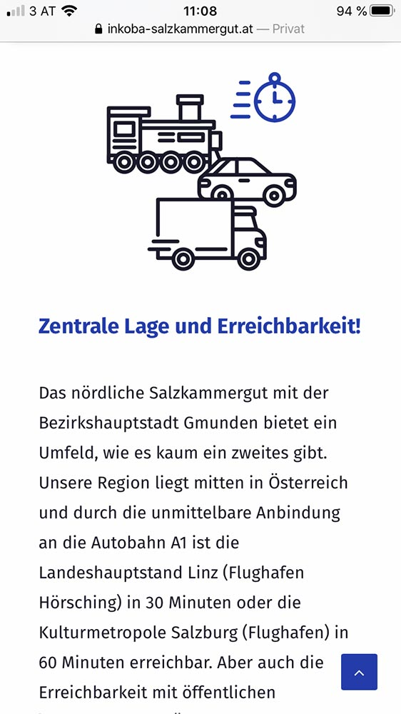 Screenshot mobile Inkoba Website Angebot
