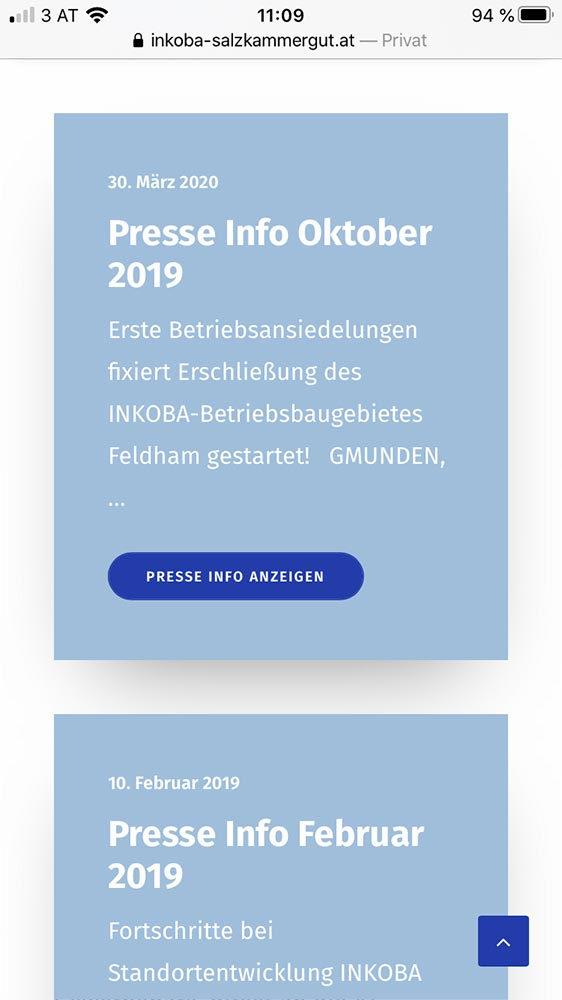 Screenshot mobile Inkoba Website News