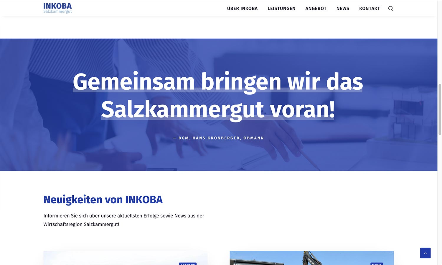 Screenshot Inkoba Website Zitat