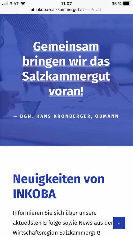 Screenshot mobile Inkoba Website Zitat
